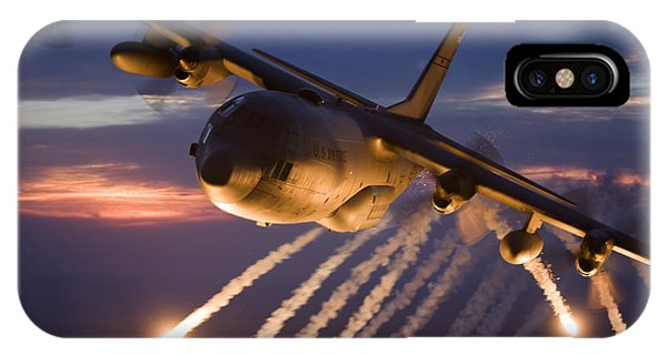 IPhone Case featuring the photograph A C-130 Hercules Releases Flares by HIGH-G Productions