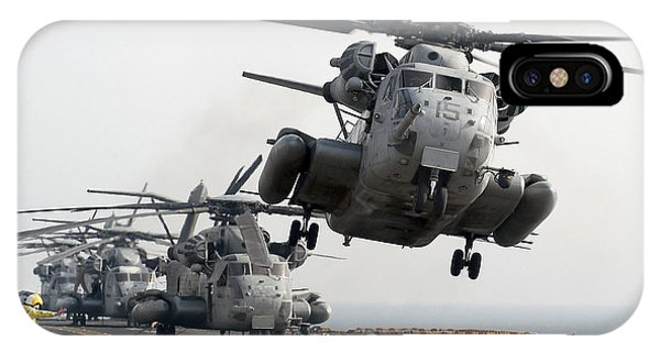 Liftoff iPhone Case - A Ch-53e Super Stallion Lifts by Stocktrek Images