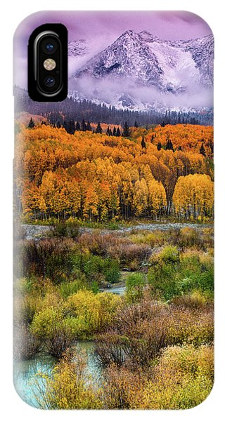 IPhone Case featuring the photograph A Fall Snow At Sunrise by John De Bord