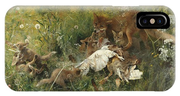 Swedish Painters iPhone Case - A Fox Family by Bruno Liljefors