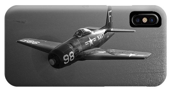 Head And Shoulders iPhone Case - A Grumman F8f Bearcat In Flight by Scott Germain