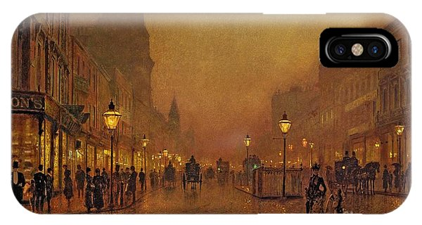 Golden iPhone Case - A Street At Night by John Atkinson Grimshaw