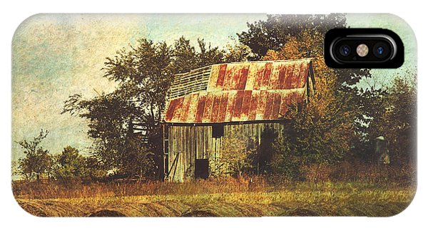 Abandoned Countryside Barn And Hay Rolls IPhone Case