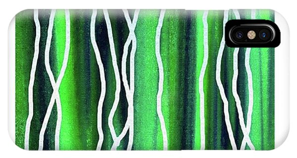House iPhone Case - Abstract Lines On Green by Irina Sztukowski