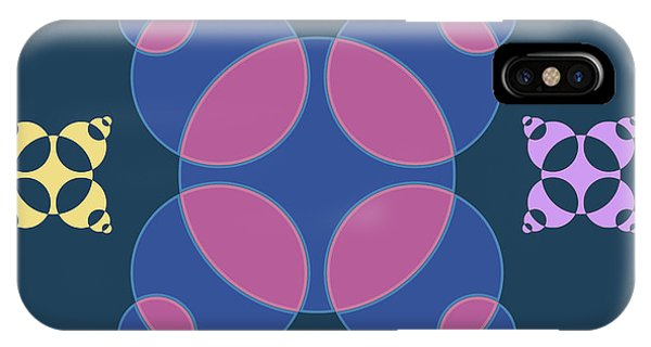 Arte iPhone Case - Abstract Mandala Pink, Dark Blue And Cyan Pattern For Home Decoration by Drawspots Illustrations