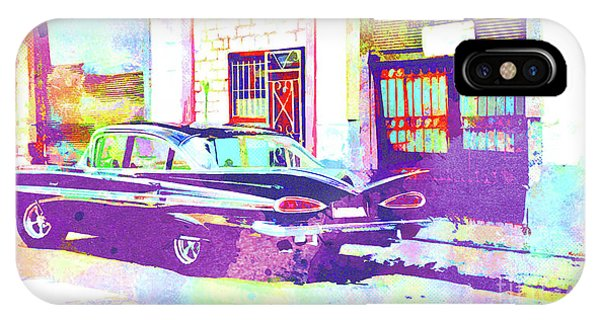 iPhone Case - Abstract Watercolor - Havana Cuba Classic Car II by Chris Andruskiewicz