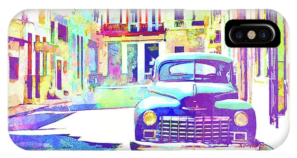 iPhone Case - Abstract Watercolor - Havana Cuba Classic Car IIi by Chris Andruskiewicz