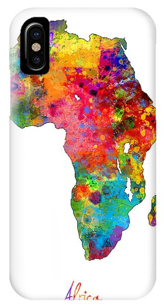 Print iPhone Case - Africa Watercolor Map by Michael Tompsett