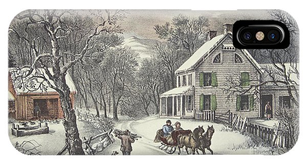 Barn Snow iPhone Case - American Homestead   Winter by Currier and Ives