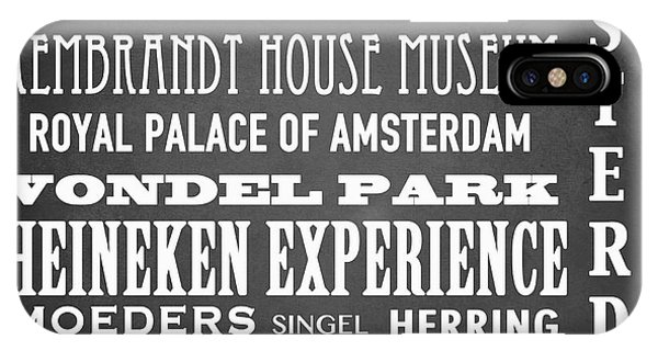 Holland iPhone Case - Amsterdam Famous Landmarks by Patricia Lintner