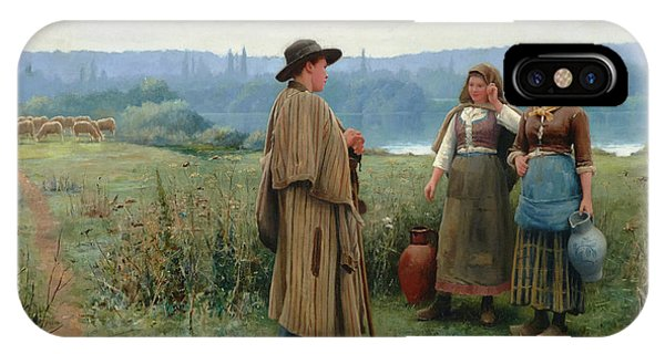 Plowing iPhone Case - An Idle Moment by Daniel Ridgway Knight