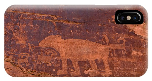 Ancient Native American Petroglyphs On A Canyon Wall Near Moab. IPhone Case