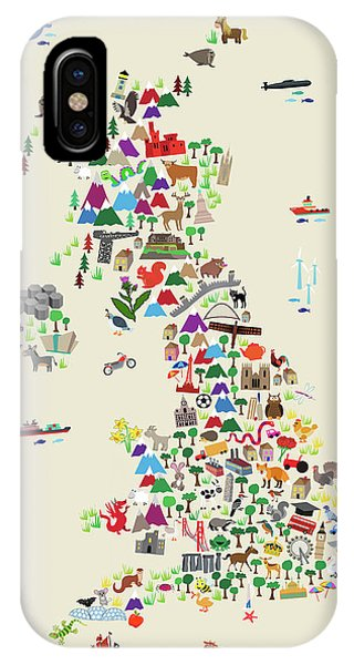 England iPhone Case - Animal Map Of Great Britain For Children And Kids by Michael Tompsett