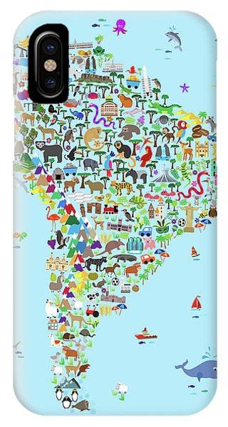 Colombian iPhone Case - Animal Map Of South America For Children And Kids by Michael Tompsett