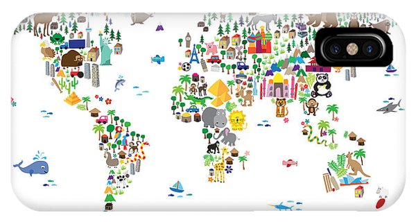 The iPhone Case - Animal Map Of The World For Children And Kids by Michael Tompsett