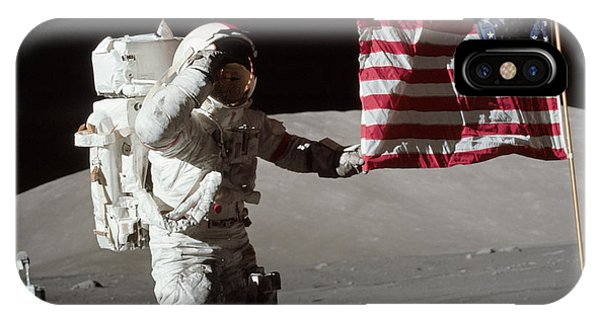 Space iPhone Case - Apollo 17 Astronaut Salutes The United by Stocktrek Images