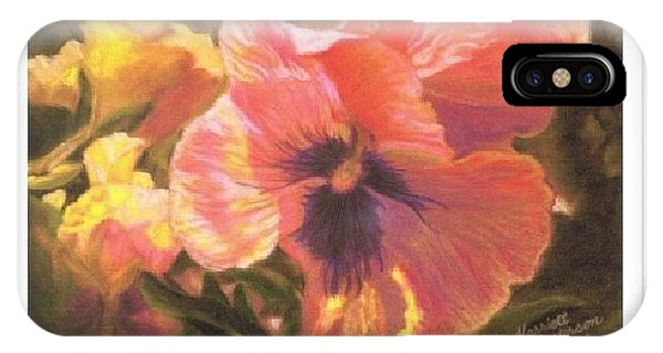 Art Card - Caroline's Pansies IPhone Case