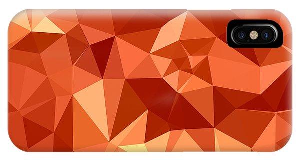 Atomic Tangerine iPhone Case - Atomic Tangerine Orange Abstract Low Polygon Background by Aloysius Patrimonio