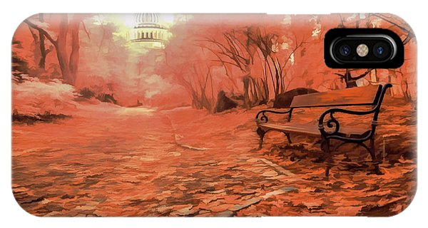 Park Bench iPhone Case - Autumn Park by World Art Creations