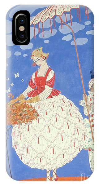 Blue Dress iPhone Case - Autumn Roses by Georges Barbier