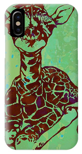 Baby Giraffe - Pop Modern Etching Art Poster IPhone Case