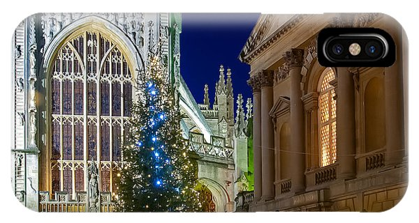 Bath Abbey At Night At Christmas IPhone Case