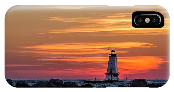 IPhone Case featuring the photograph Beautiful Ludington Lighthouse Sunset by Adam Romanowicz