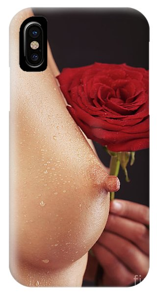 Beautiful Woman Breast And A Red Rose IPhone Case