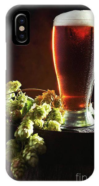 Cold Day iPhone Case - Beer And Hops On Barrel by Amanda Elwell
