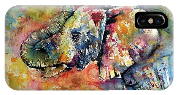 Red iPhone X Case - Big Colorful Elephant by Kovacs Anna Brigitta