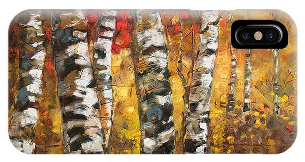 Birch Tree iPhone Case - Birch Trees In Golden Fall by Ylli Haruni