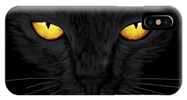 IPhone Case featuring the painting Superstitious Cat by Anastasiya Malakhova