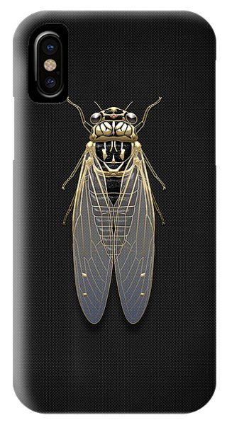Pop Art iPhone Case - Black Cicada With Gold Accents On Black Canvas by Serge Averbukh