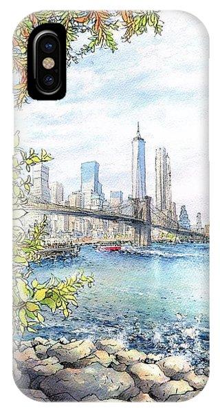 Watercolor iPhone Case - Blooklyn Newyork  by Junko Nishimura