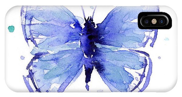 Dark Blue iPhone Case - Blue Abstract Butterfly by Olga Shvartsur