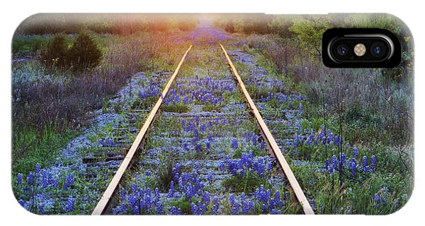 Beauty In Nature iPhone Case - Blue Bonnets On Railroad Tracks by Jeremy Woodhouse