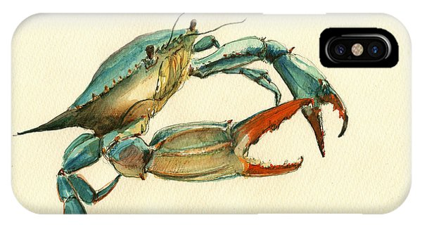 Nautical iPhone Case - Blue Crab Painting by Juan  Bosco
