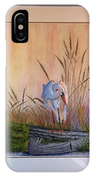 Blue Heron On A Log  IPhone Case