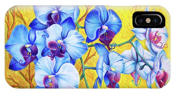 IPhone Case featuring the painting Blue Orchids #2 by Nancy Cupp