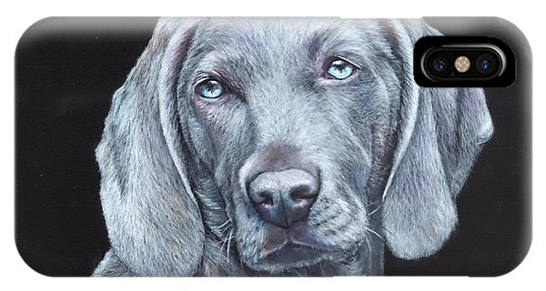 IPhone Case featuring the painting Blue Weimaraner by John Neeve