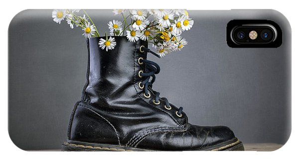 Daisy iPhone Case - Boots With Daisy Flowers by Nailia Schwarz