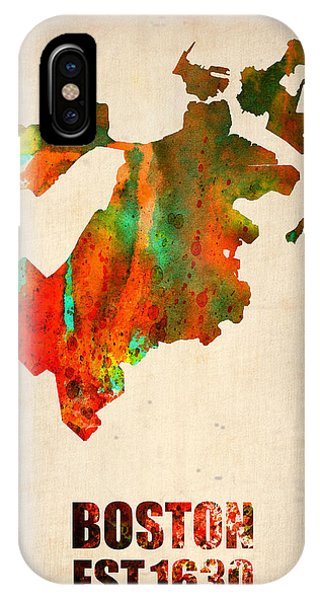 Boston Watercolor Map  IPhone Case