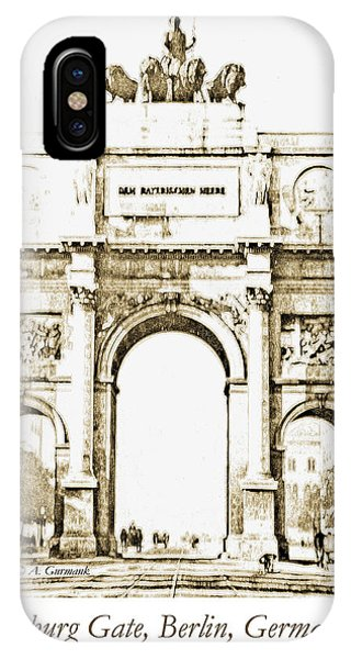 Brandenburg Gate, Berlin Germany, 1903, Vintage Image IPhone Case