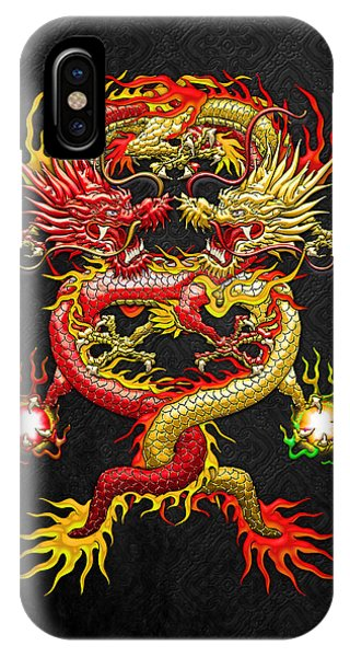 Fantasy iPhone Case - Brotherhood Of The Snake - The Red And The Yellow Dragons by Serge Averbukh