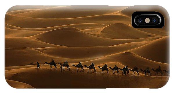 Camel Caravan In The Erg Chebbi Southern Morocco IPhone Case