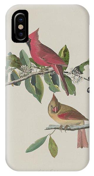 1851 iPhone X Case - Cardinal Grosbeak by Dreyer Wildlife Print Collections
