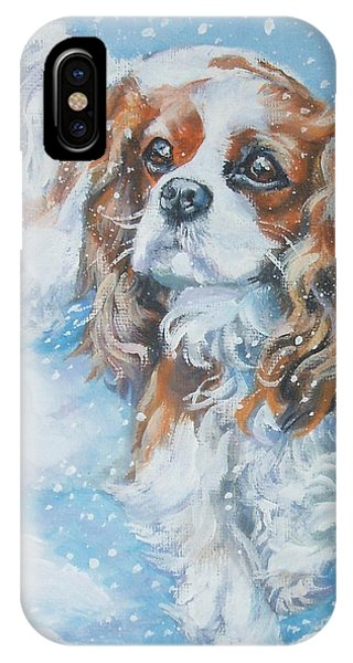 King Charles iPhone Case - Cavalier King Charles Spaniel Blenheim In Snow by Lee Ann Shepard