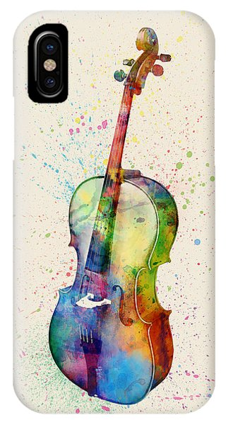 Violin iPhone Case - Cello Abstract Watercolor by Michael Tompsett