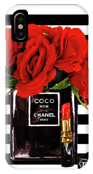 Perfume iPhone Case - Chanel Perfume With Red Roses by Del Art