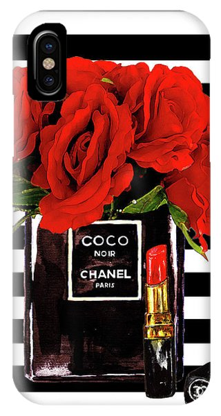 Print iPhone Case - Chanel Perfume With Red Roses by Del Art